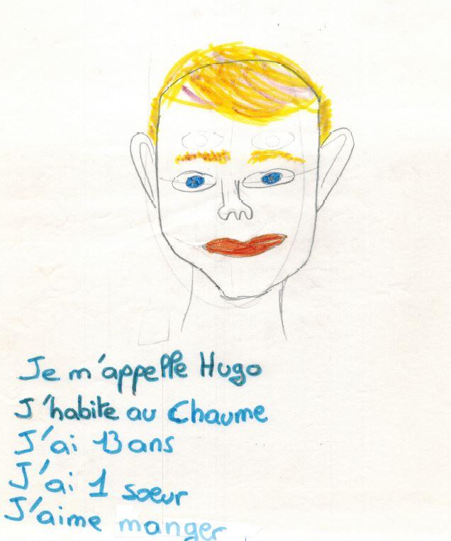 dessin auto portrait Hugo 13ans Chaume