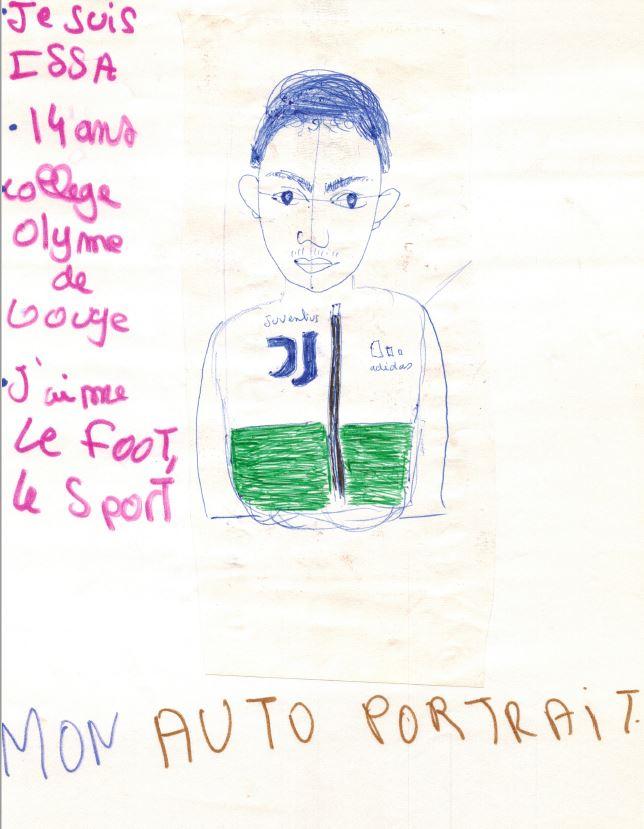 dessin auto portrait Essa 14ans college olyme de gouge