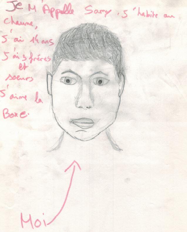 dessin auto portrait Samy 14ans Chaume